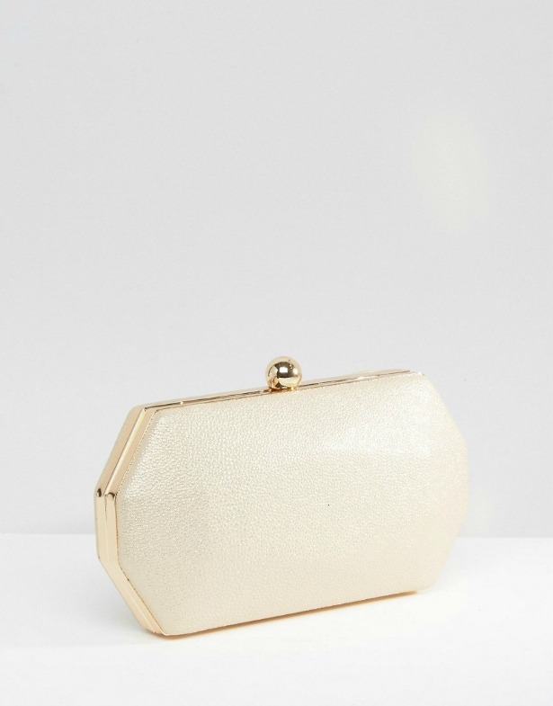 Octagonal Clutch Bag in Pale Gold | Confetti.co.uk