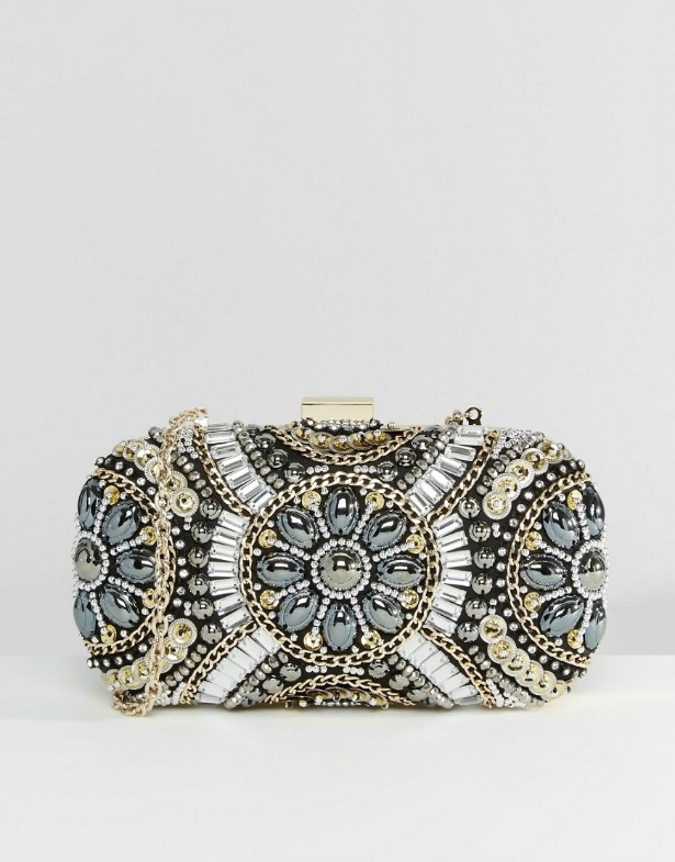 Black & metallic beaded box clutch bag | Confetti.co.uk