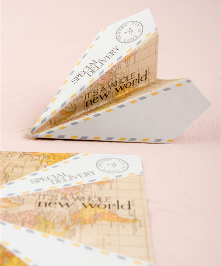 It's a Whole New World Special Delivery Paper Airplanes Wedding Stationery | Confetti.co.uk