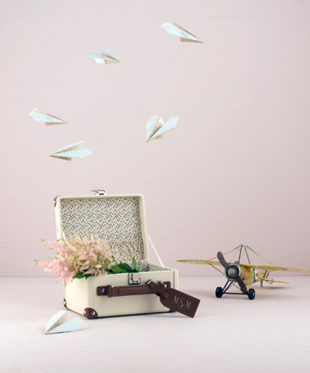 Special Delivery World Map Atlas Themed Paper Airplane Wishing Well Guest Book Stationery Set | confetti.co.uk