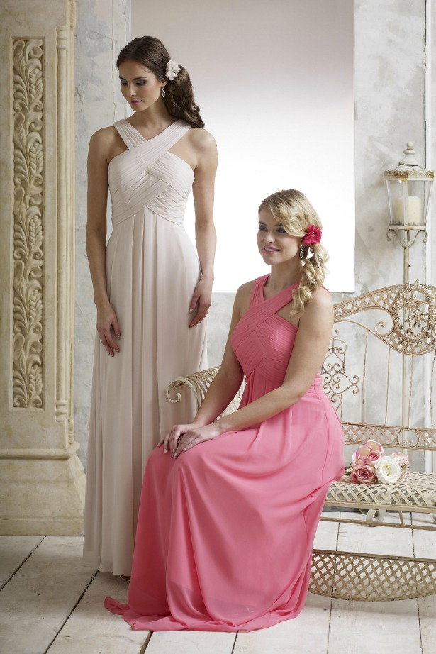 Veromia bridesmaid dresses in champagne and coral | Confetti.co.uk
