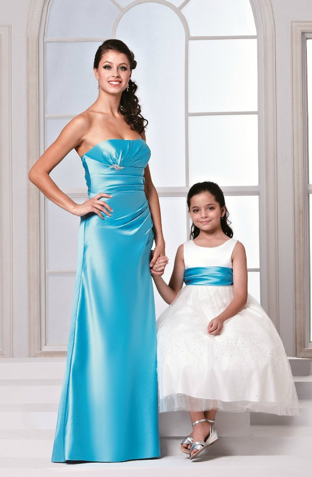 Veromia bridesmaid dresses in styles DAB11256-TOPAZ-DAF7535-IVORY-TOPAZ | Confetti.co.uk