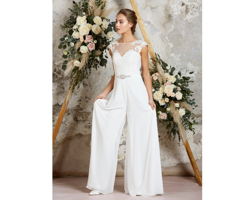 Wide-legged bridal jumpsuit