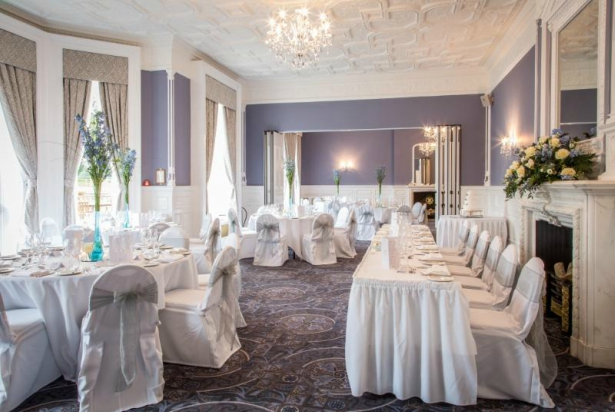 Top table and dressed reception at Oakley Hall Hotel | Confetti.co.uk