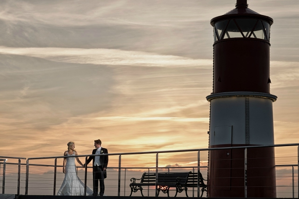 Bride and Groom at Solent Forts Lighthouse | Confetti.co.uk