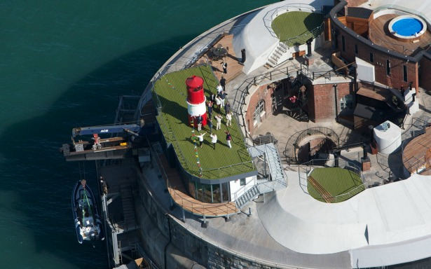 Aerial view of Spitbank Fort   Confetti.co.uk