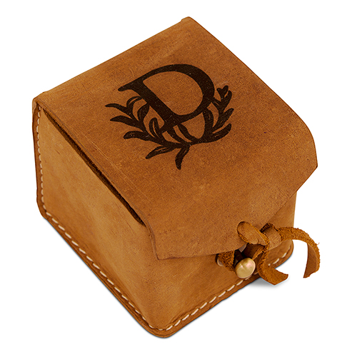 Personalised tanned leather ring box | Confetti.co.uk
