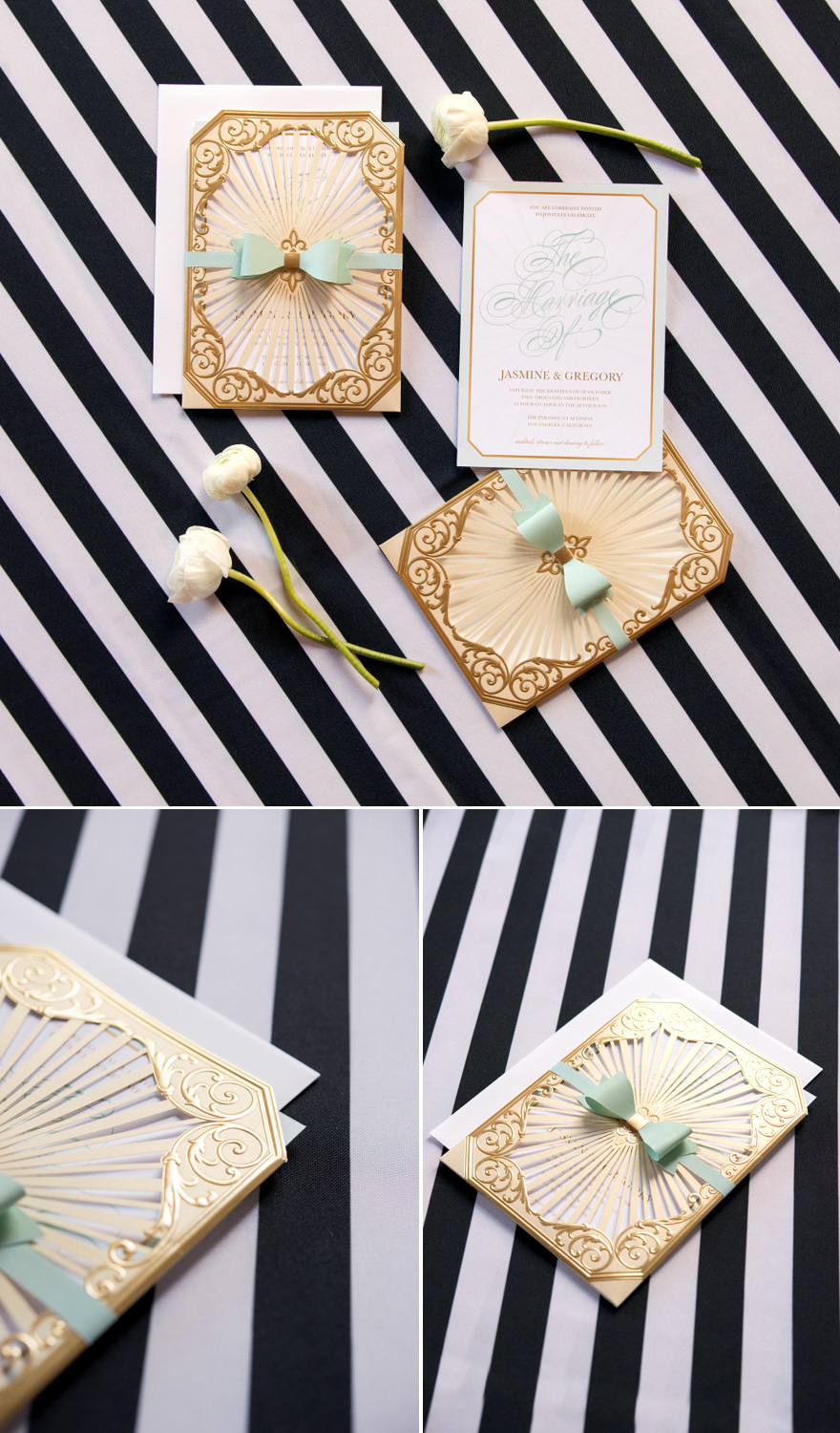 Black and Gold and Mint Green DIY Wedding Stationery with Stripes and Bows Accents   Confetti.co.uk