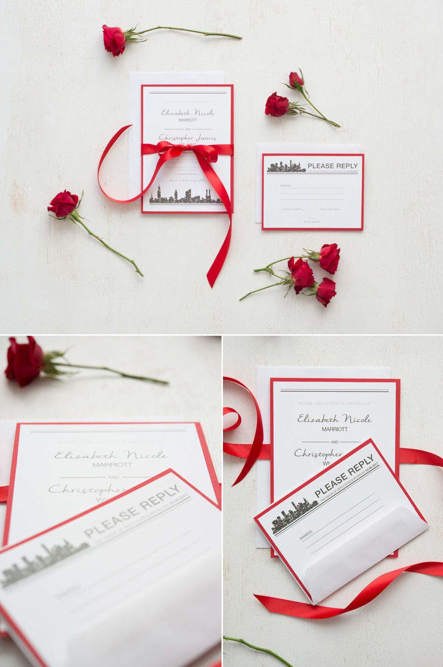 DIY Romantic Red and White Wedding Stationery - DIY Ribbon Wedding Stationery   Confetti.co.uk