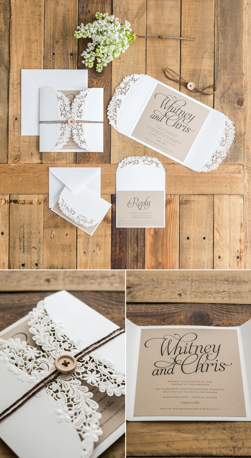 DIY Rustic Glam Buttons and Twine Wedding Stationery Idea   Confetti.co.uk