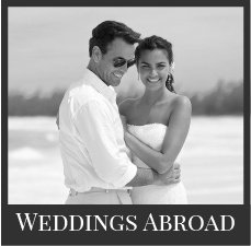 Sandals weddings abroad black and white