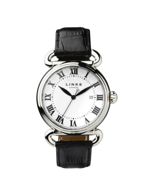Driver stainless steel black leather watch by Links of London | Confetti.co.uk