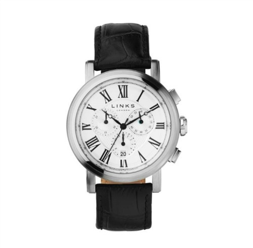 Richmond stainless steel black leather watch by Links of London | Confetti.co.uk