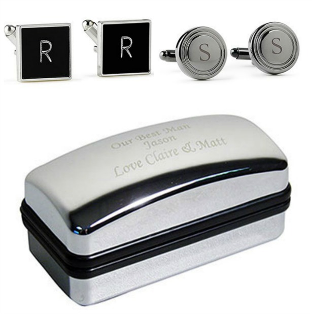 Cufflinks and engraved box | Confetti.co.uk