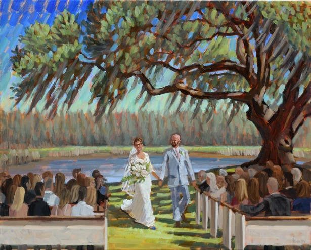 Real wedding painted in real time by Wed on Canvas | Confetti.co.uk