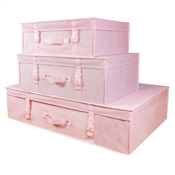 Set of 3 pink boxes for wedding dress storage and accessories from Amazon | Confetti.co.uk