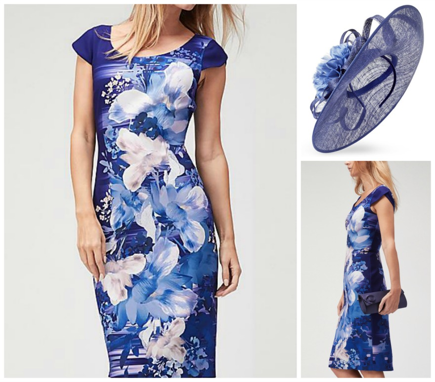 Magnolia print dress and Sapphire fascinator, both by Jaques Vert | Confetti.co.uk