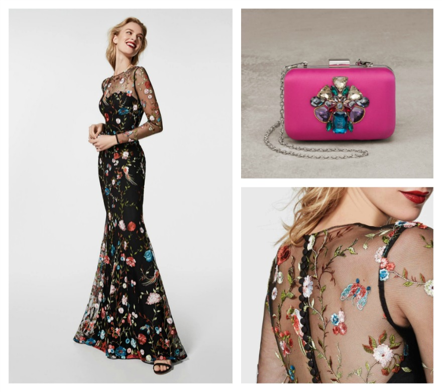 Glachel embroidered dress and Violeta clutch bag, both by Pronovias | Confetti.co.uk