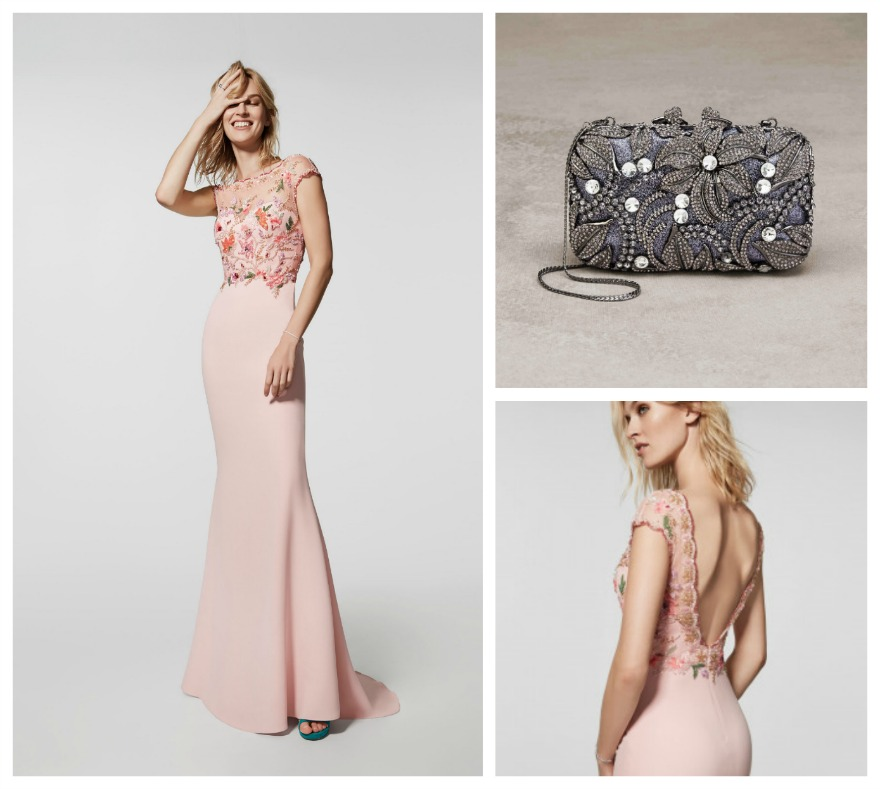 Grafito embroidered top dress and Margarita clutch bag, both by Pronovias | Confetti.co.uk