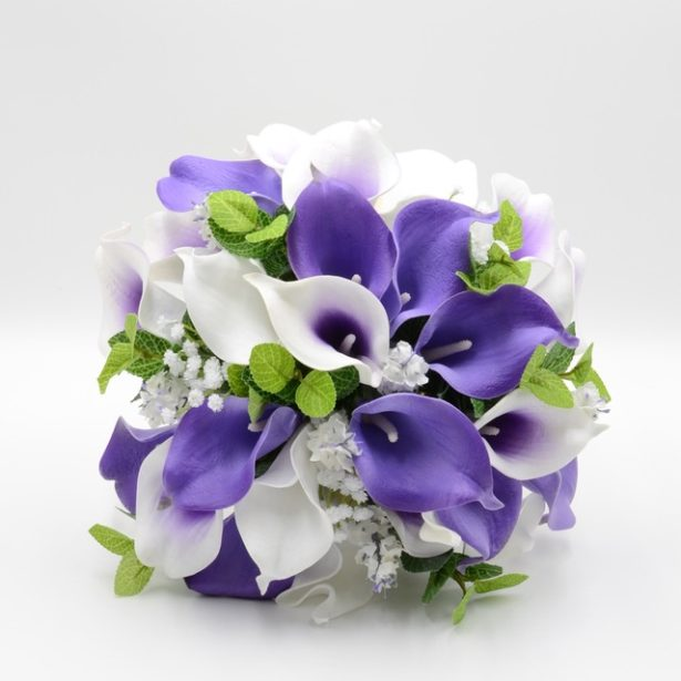 A bridal bouquet of white and purple artifical flowers by Petals Polly | Confetti.co.uk