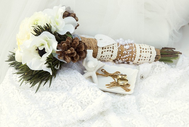 Stunning Rustic themed wedding bouquet with heart detail