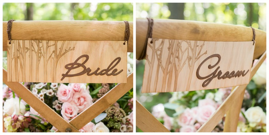 Woodland bride and groom chair markers | Confett.co.uk