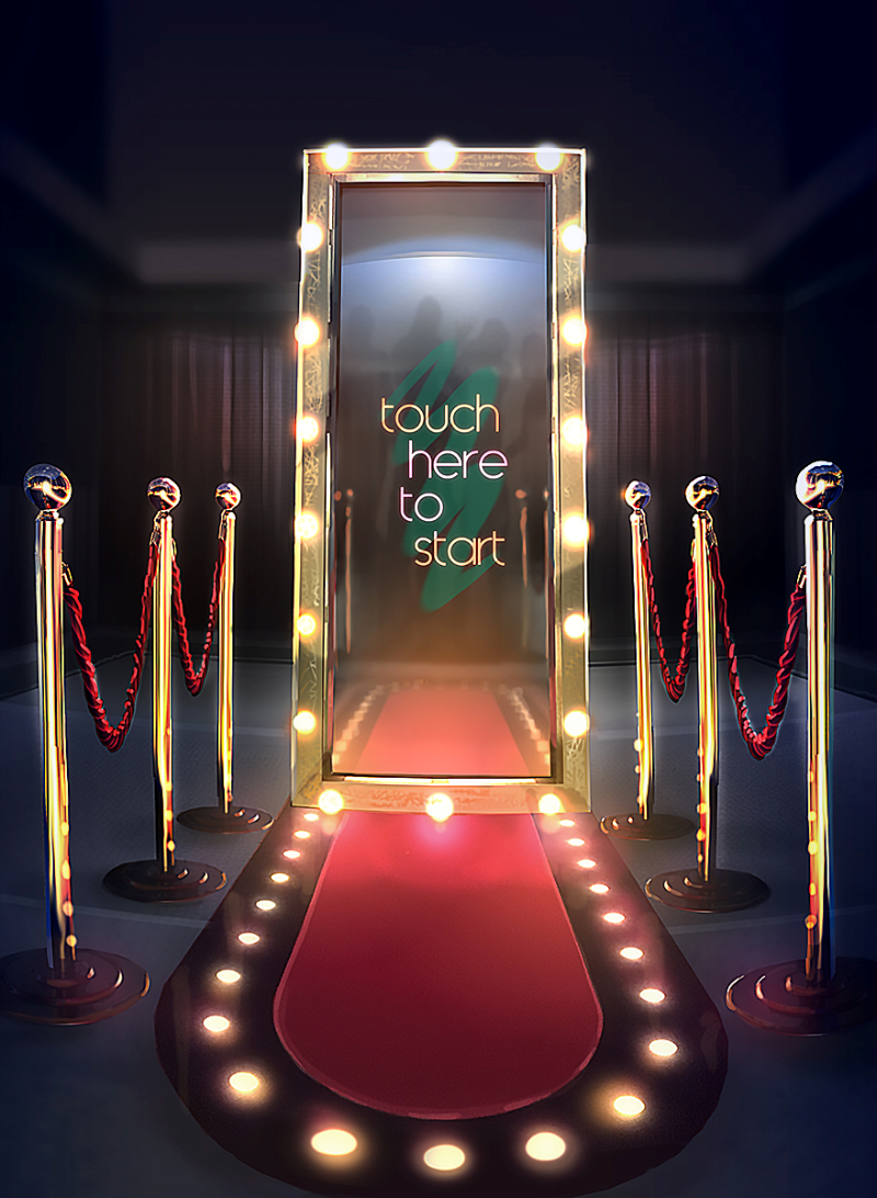The magic mirror with hollywood frame and red carpet by PictureBlast