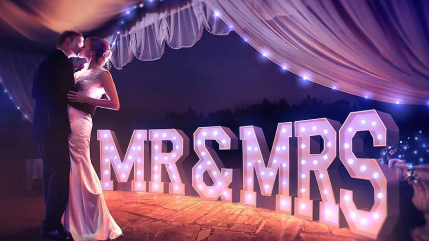 mr and mrs giant LED letters
