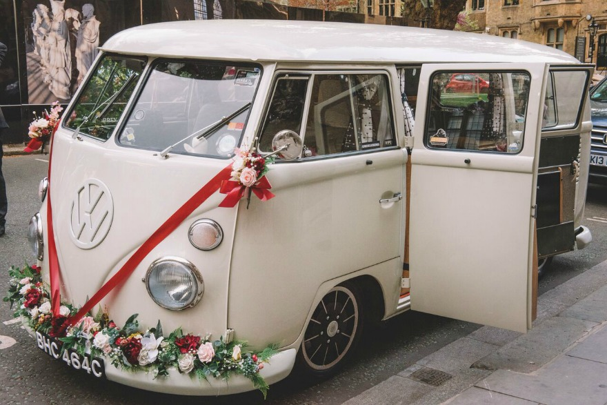 VW camper van at Kristina and Max's Real Wedding at Westminter Abbey | Confetti.co.uk