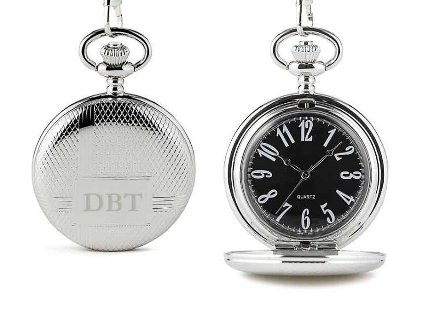 Classic pocket watch with black face   Confetti.co.uk