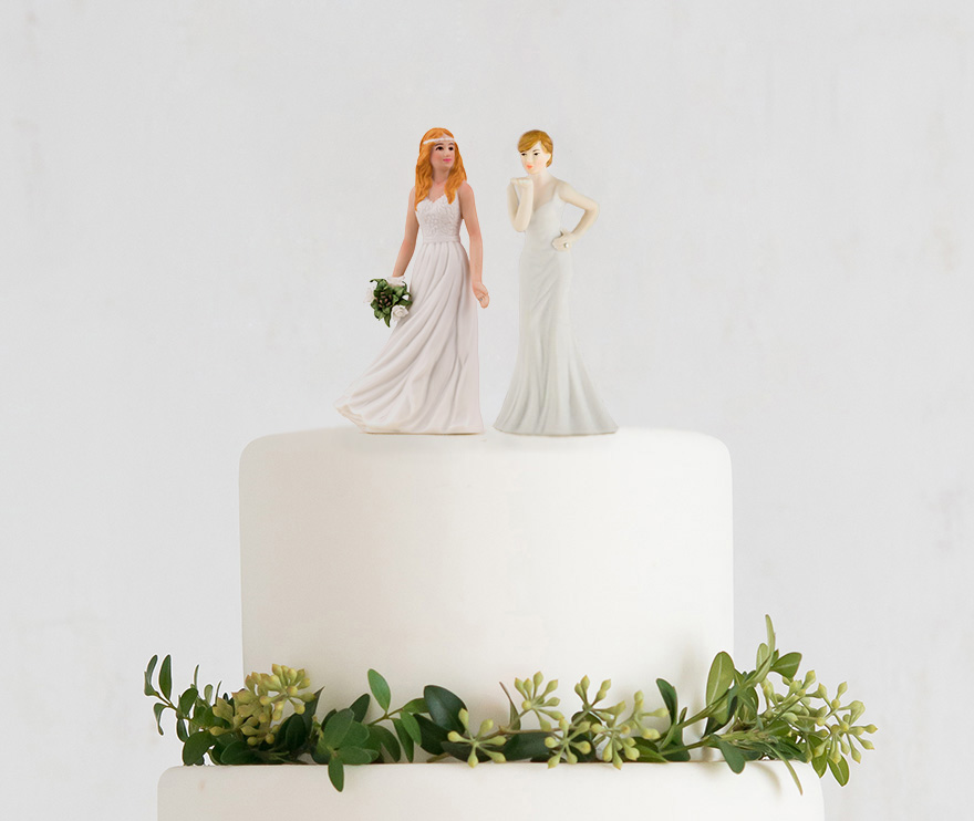 Beautiful Mix and Match Bride Cake Toppers - Same Sex Wedding Cake Toppers - Lesbian Wedding Cake Toppers   Confetti.co.uk