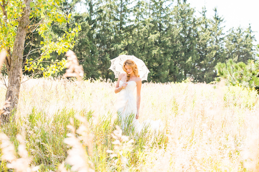 Bride in Summer Meadow - Bride with Vintage Lace Parasol - Romantic Wedding ReadingsFrom Movies | Confetti.co.uk