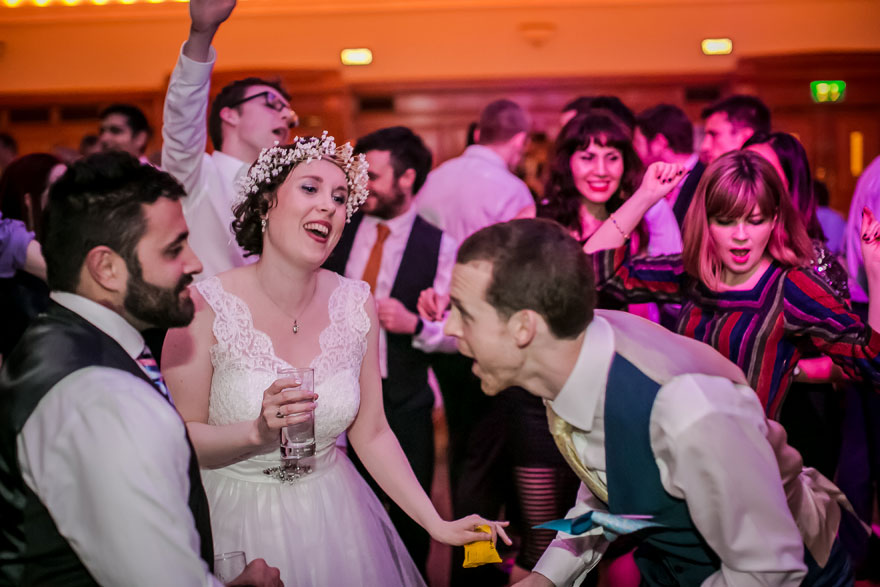 Islington Assembly Hall Wedding Reception Disco Bride and Groom Dancing   Confetti.co.uk