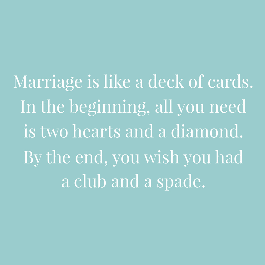 Marriage is like a deck of cards   Confetti.co.uk