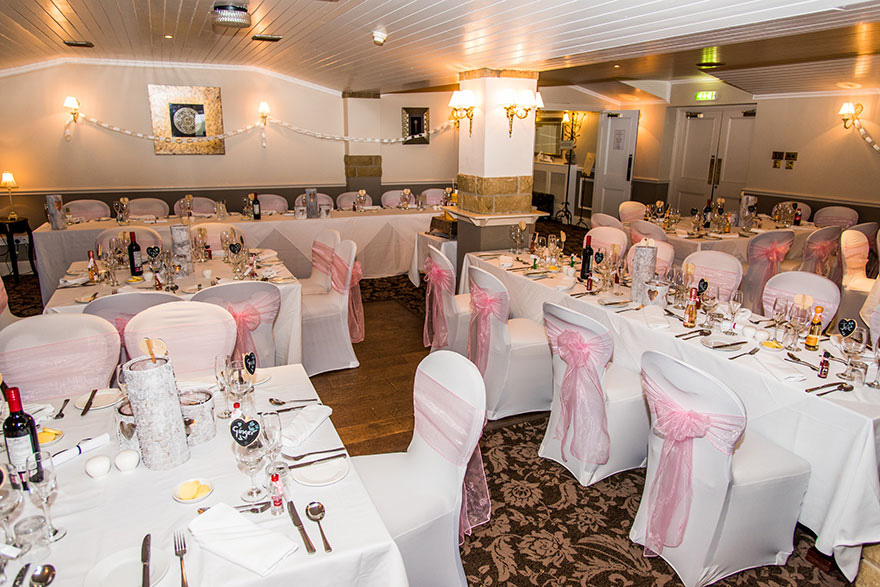 Pennine Manor Hilltop Pink White and Gold Wedding Reception Function Room | Confetti.co.uk