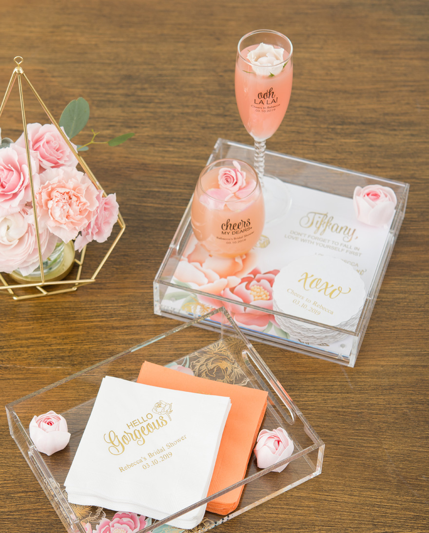 Bridesmaid Gifts Presented on an Acrylic Tray   Confetti.co.uk