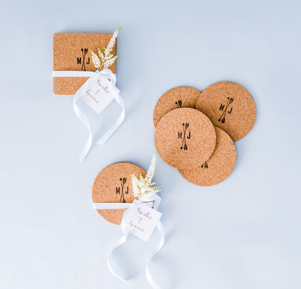 Cork Coasters with Personalised Ink Stamp   Confetti.co.uk