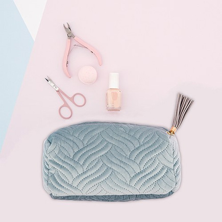Quilted Velvet Travel Toiletry Bag - Spa Blue   Confetti.co.uk