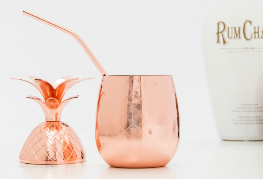 Pineapple cocktail cup in rose gold   Confetti.co.uk