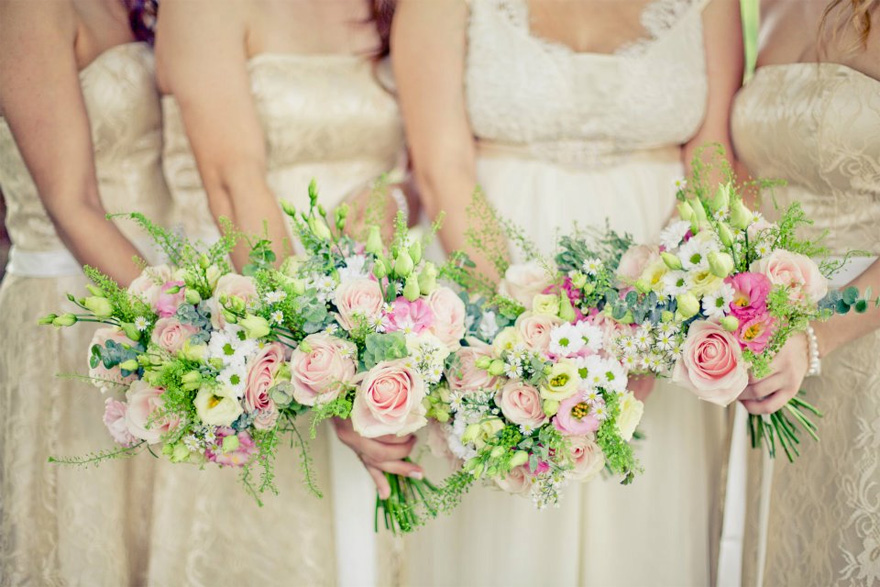 Vanilla Rose Spring Summer Wedding Flowers and Bridesmaid Bouquets   Confetti.co.uk