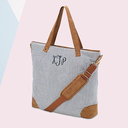 Women's Striped Tote Bag - Navy and White   Confetti.co.uk