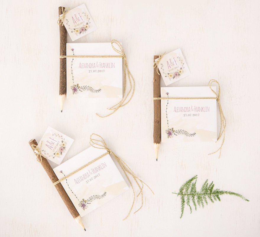 Woodland Wedding Favour Note Books and Pencils Gift   Confetti.co.uk