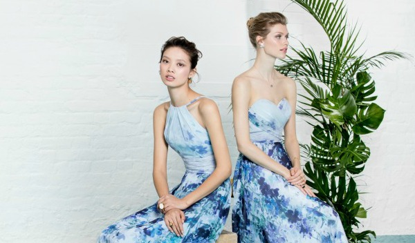 Patterned Blue Bridesmaid Dresses by Kelsey Rose   Confetti.co.uk