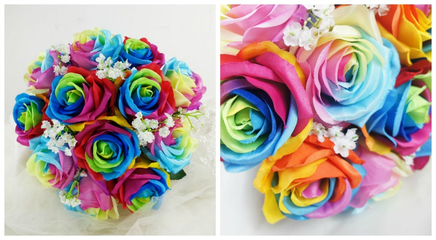 Rainbow silk bridal bouqet by floralYome on Etsy   Confetti.co.uk