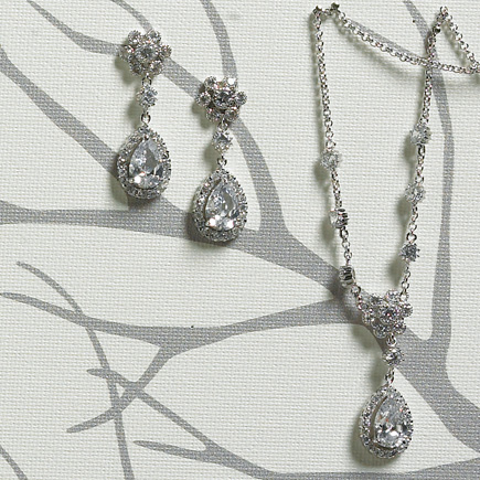 Flower and Pear Drop Earrings and Necklace In Silver Jewellery | Confetti.co.uk