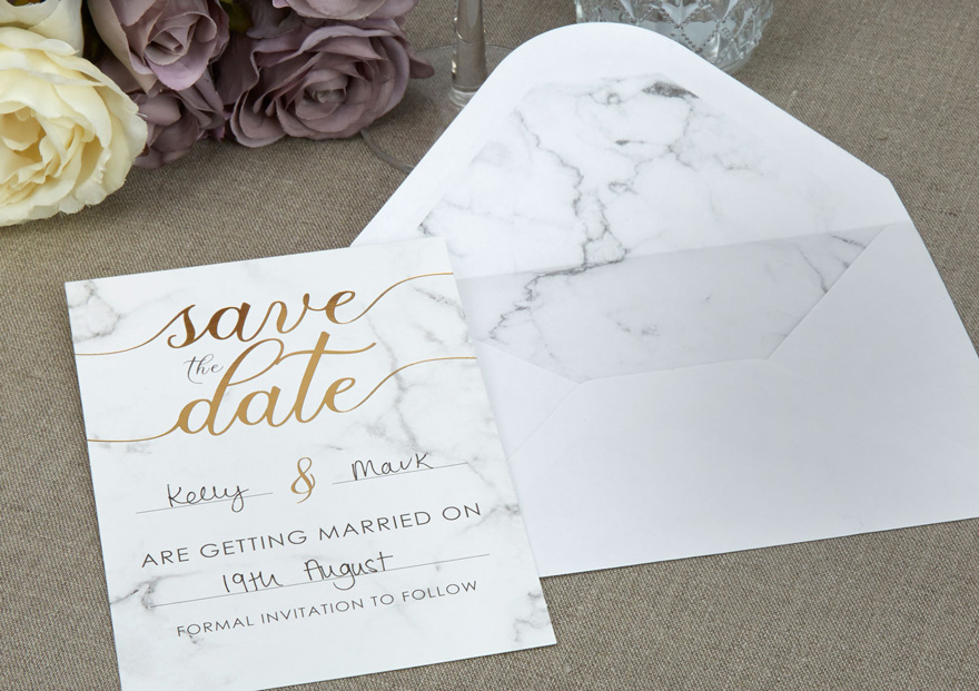 Gold Script Marble Effect Wedding Save The Date Cards | Confetti.co.uk