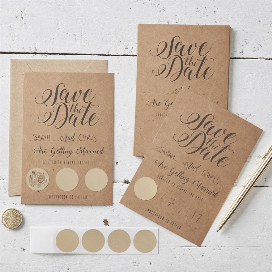 Kraft Save The Date Scratch Cards - Vintage Black and Brown with Cursive Script | Confetti.co.uk