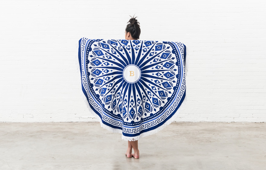 Personalised Blue and White Tribal Print Round Beach Towel | Confetti.co.uk