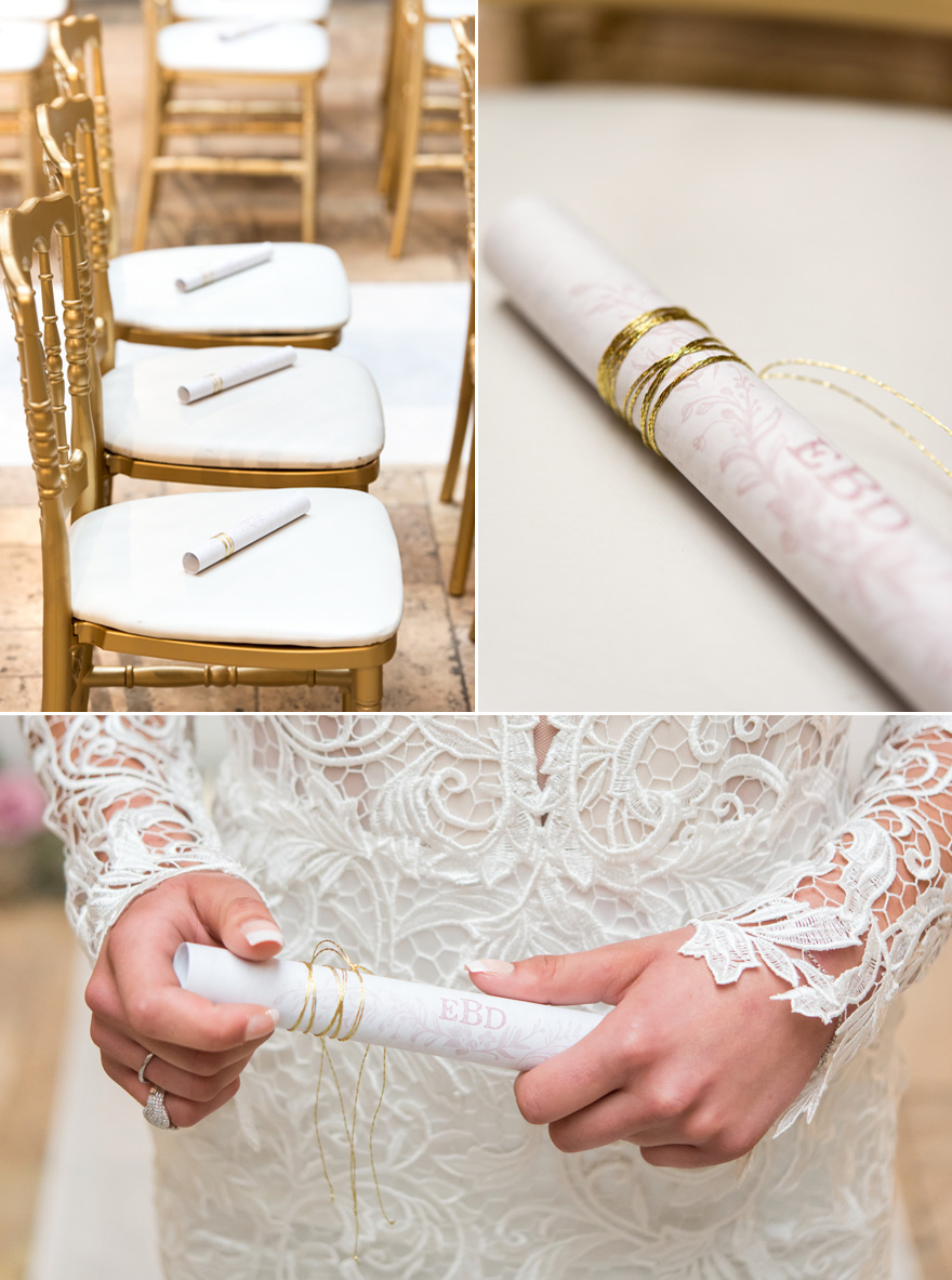 Personalised Modern Fairy Tale Wedding Program with Gold Twine   Confetti.co.uk