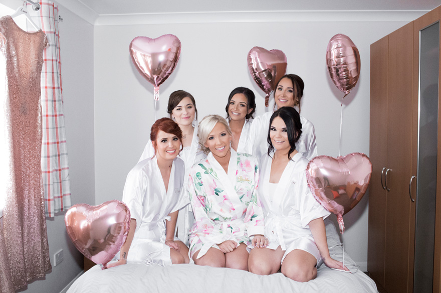 Rose Gold Foil Heart Shaped Balloons - Bride and Bridesmaid Photo Idea - Sally's Real Wedding | Confetti.co.uk